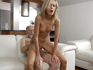 VIP4K. Passionate old and young scene in morning..