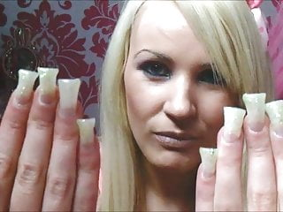 cum long nails girl